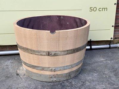 Houten wijnvat - Ronde plantenbak doorsnede 70 cm